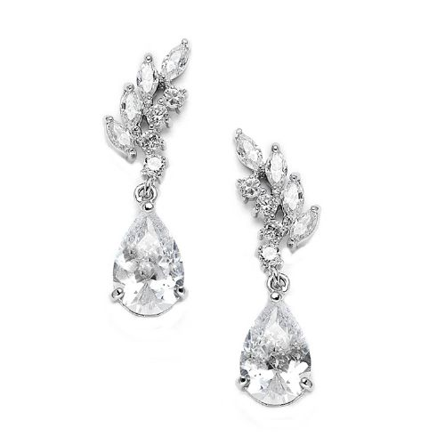 Sara Crystal Wedding Earrings, Cubic Zirconia Bridal  Earrings